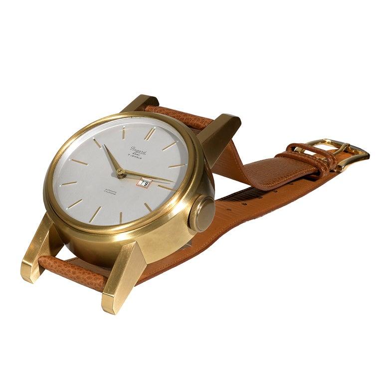 Clock PINGARD Gilt-Brass 8-day Watch-Form Desk Timepiece with Date