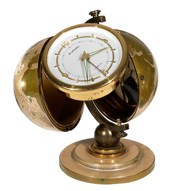 Clock EUROPA Gilt-Brass Globe-Form Desk Timepiece with Alarm 1