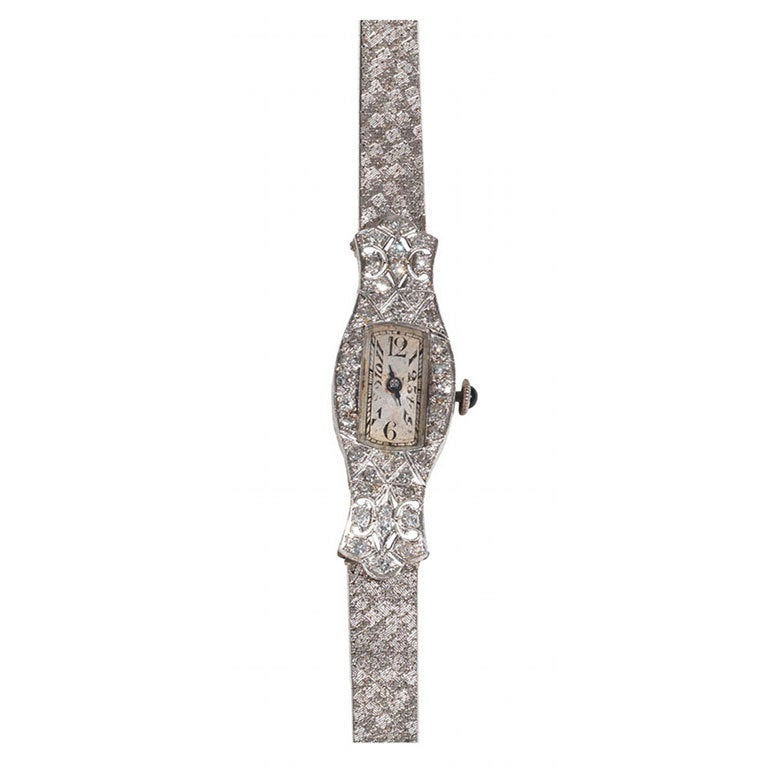 Lady's Platinum Diamond Mechanical Wristwatch