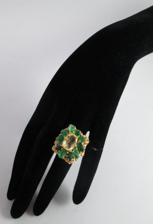 Women's BUCCELLATI Yellow Sapphire and Carved Emerald Ring