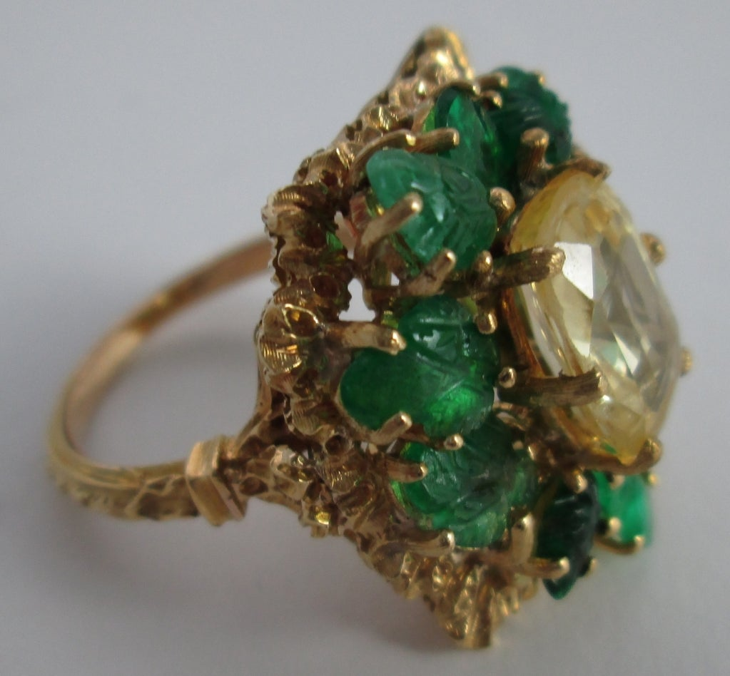 BUCCELLATI Yellow Sapphire and Carved Emerald Ring 1