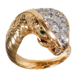 SERAFINI Gold and Diamond Snake Ring