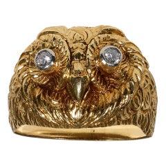 SERAFINI  Gold and Diamond Owl Ring