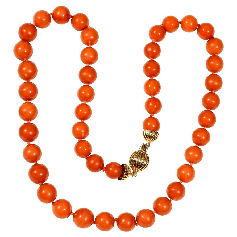 a coral bead necklace at 1stdibs
