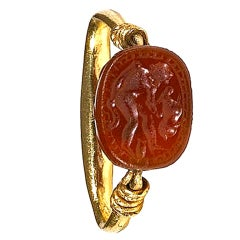 An Etruscan Carnelian Scarab & Gold Intaglio Ring 5Th Century B.C.