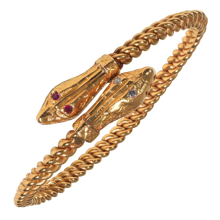 22kt Gold Antique Snake Bangle Bracelet 1