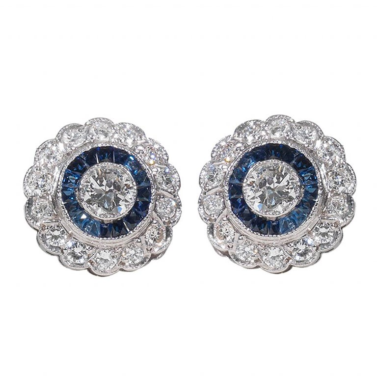 A Diamond and Sapphire Cluster Earstuds 1