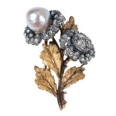 Natural Pearl, Diamond And Gold Brooch, By MARIO BUCCELLATI