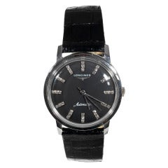 Longines White Gold and Diamond Automatic Wristwatch with Black Dial