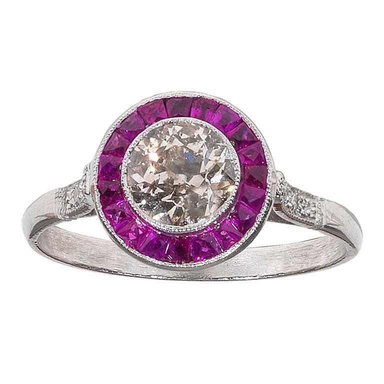 A Diamond and Ruby Platinum cluster Ring For Sale