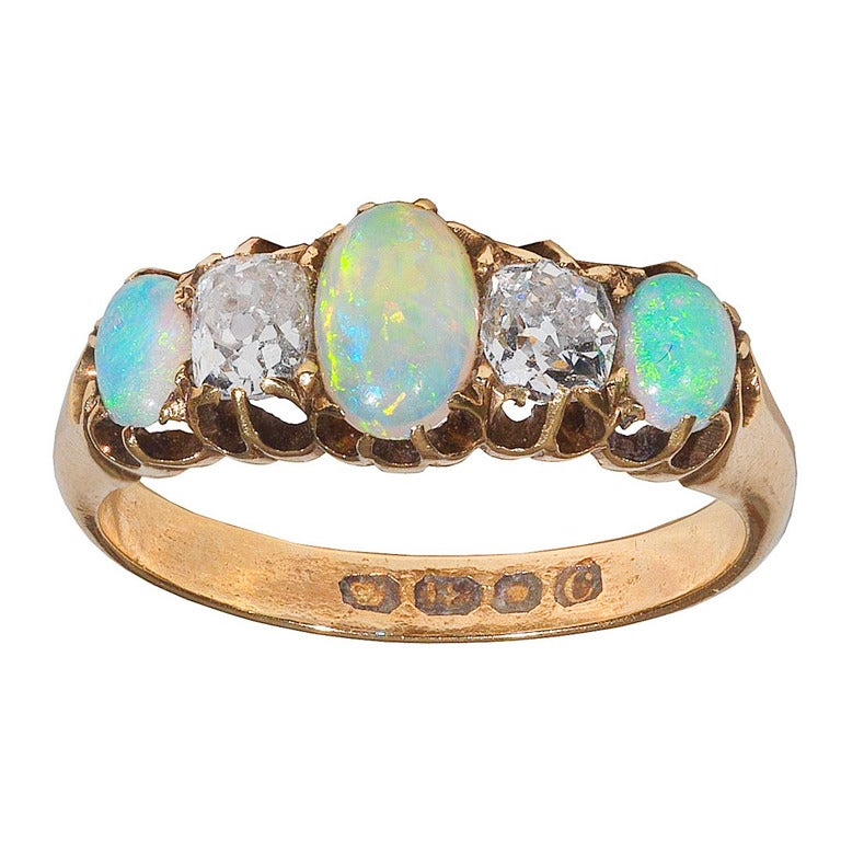 An Antique Opal And Diamond Ring at 1stdibs