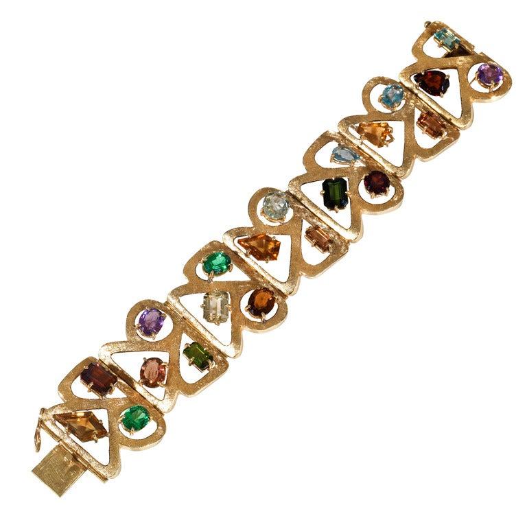a gem set tutti frutti bracelet france 1950 ca at 1stdibs