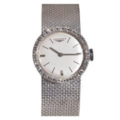 Longines Lady's White Gold and Diamond Bracelet Watch