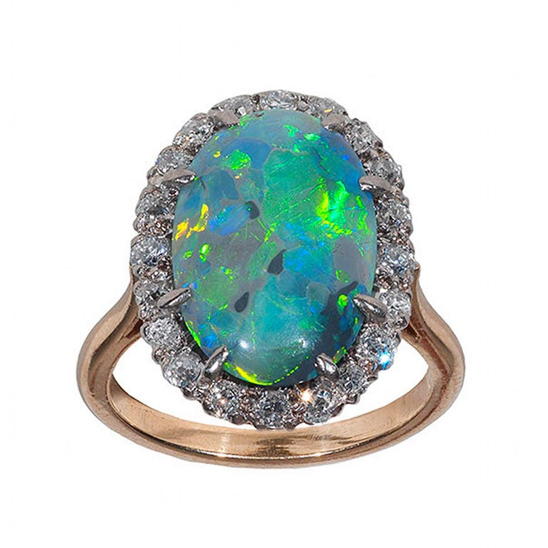 Antique Opal Diamond Ring at 1stdibs