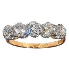 Antique English Diamond Five Stone Carved Half Hoop Ring c1910