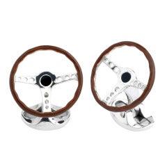 DEAKIN & FRANCIS Silver Vintage Steering Wheel Cufflinks