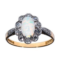 Opal Diamond Set Gold Platinum Oval Cluster Ring