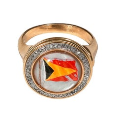 Essex Crystal Victorian Gold Navy Flag Ring