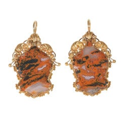 Antique Moss Agate Gold Earrings