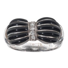 Art Deco Onyx Diamond Platinum Ring