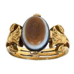 Agate Gold Intaglio Ring Depicting Apollo