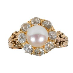 Pearl Diamond Yellow Gold Cluster Ring
