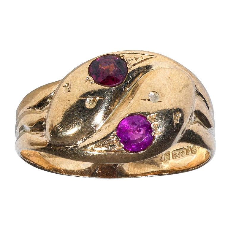 Victorian Ruby Diamond Yellow Gold Twin Snake Ring