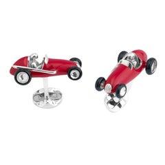 Deakin & Francis Enamel Silver Red Racing Car Cufflinks