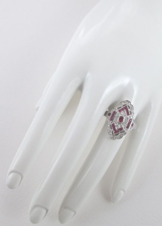 Ruby Diamond White Gold Ring In As New Condition For Sale In Firenze, IT