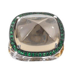 Sugarloaf Cabochon Tourmaline and Green Sapphire Ring