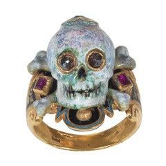 Enamel Ruby Diamond Gold Skull Bones Ring