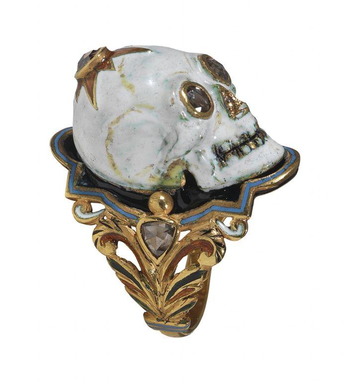 enamel gold skull ring at 1stdibs