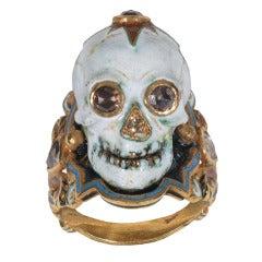 Enamel Diamond Gold Skull Ring