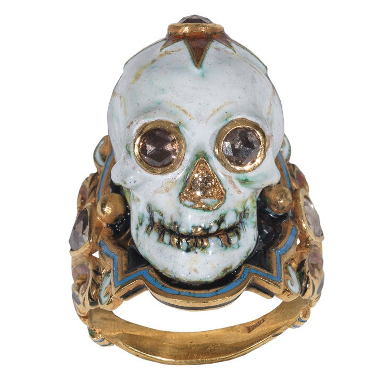 Enamel Diamond Gold Skull Ring at 1stdibs
