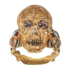 Enamel Ruby Diamond Gold Skull Ring