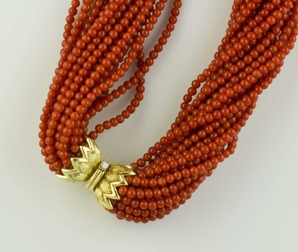 TIFFANY & Co. SCHLUMBERGER Coral Diamond Gold Torsade Necklace 3