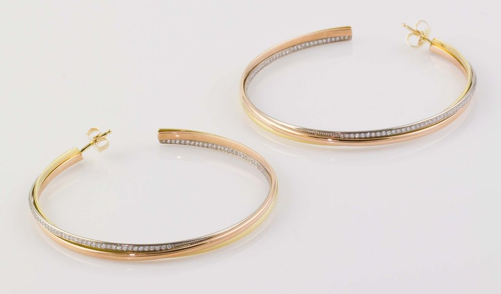 Cartier Diamond Three Color Gold Trinity Large Hoop Earrings 3