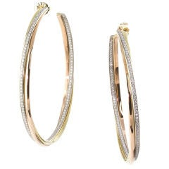 Cartier Diamond Three Color Gold Trinity Large Hoop Earrings