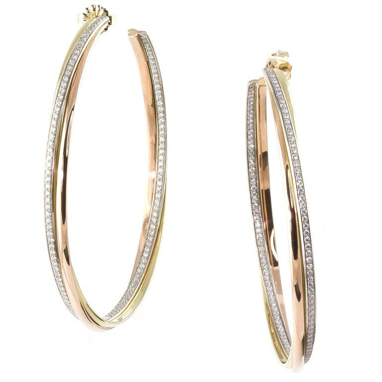 Cartier Diamond Three Color Gold Trinity Large Hoop Earrings For Sale