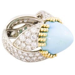 SCHLUMBERGER 18K Gold Platinum Diamond Turquoise Dome Ring