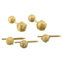 TIFFANY SCHLUMBERGER 18K Gold Studded Dumbell Cufflink Stud Set