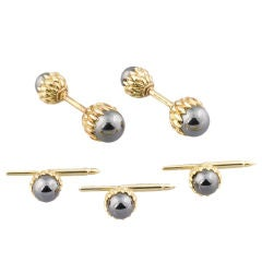 TIFFANY SCHLUMBERGER 18K Gold Acorn Cufflinks Stud Set