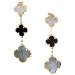 VAN CLEEF & ARPELS MAGIC ALHAMBRA 18K Gold MOP Onyx Earrings