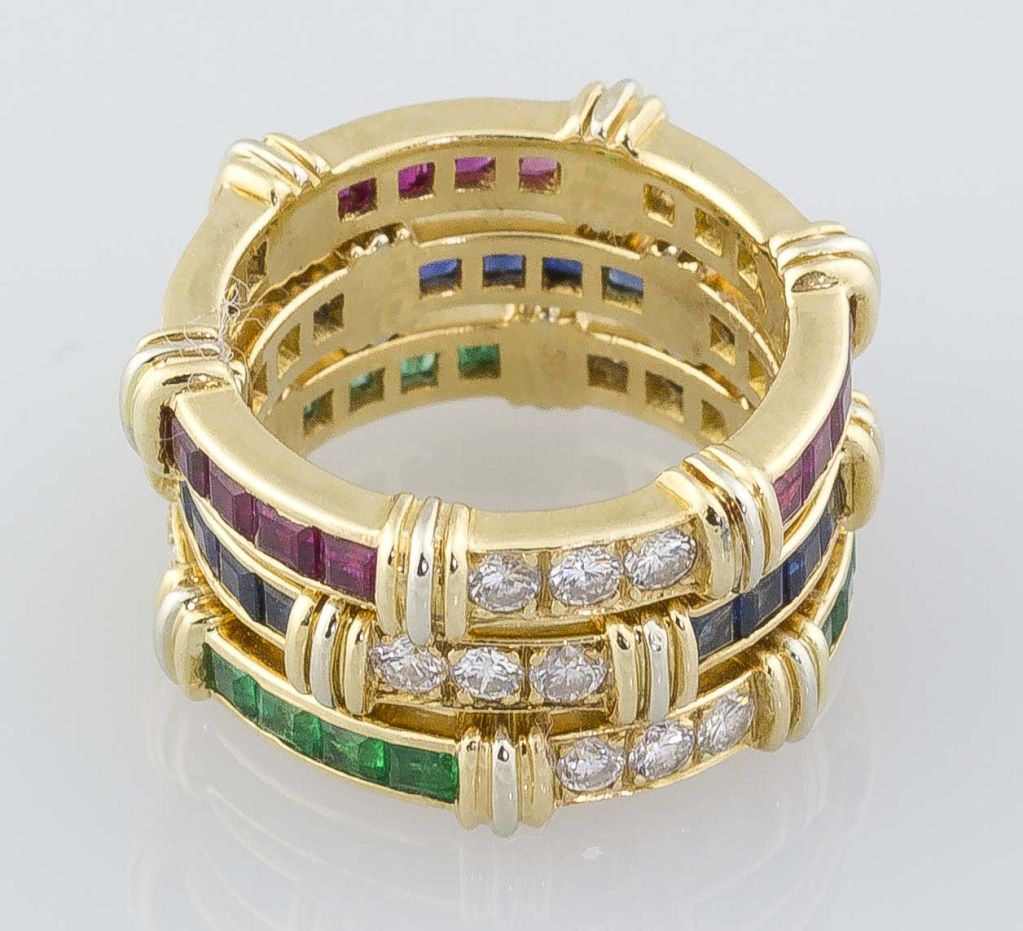Cartier 18k Gold Diamond Emerald Ruby Sapphire 3 Band Ring
