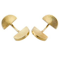 CARTIER PARIS 18K Gold Ridged Fan Cufflinks