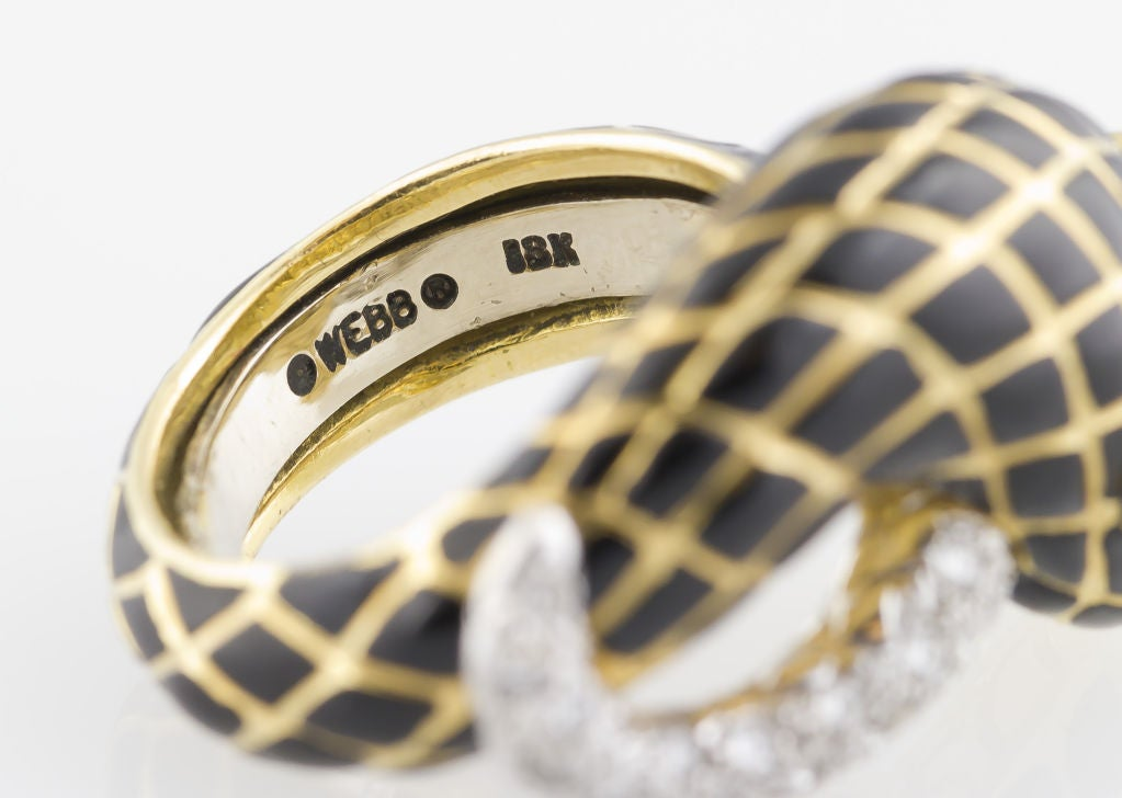 david webb enamel gold platinum snake ring for