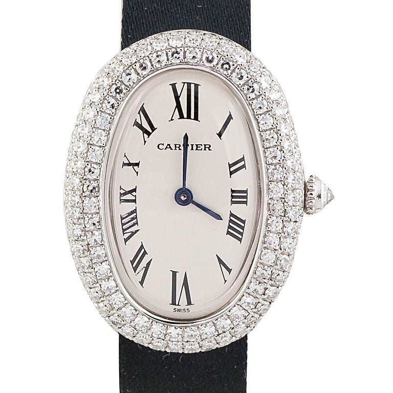 cartier baignoire white gold diamond ladies watch at 1stdibs. Black Bedroom Furniture Sets. Home Design Ideas