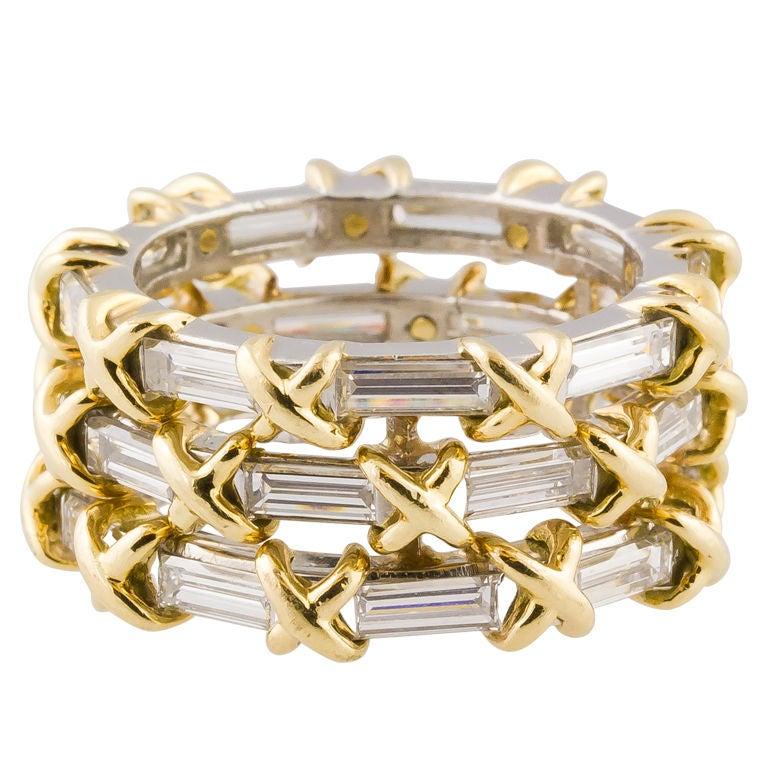 Tiffany Schlumberger Diamond Gold 3 Row Band Ring At 1stdibs
