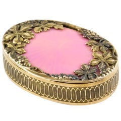 Russian Art Nouveau Gold Enamel Pill Box