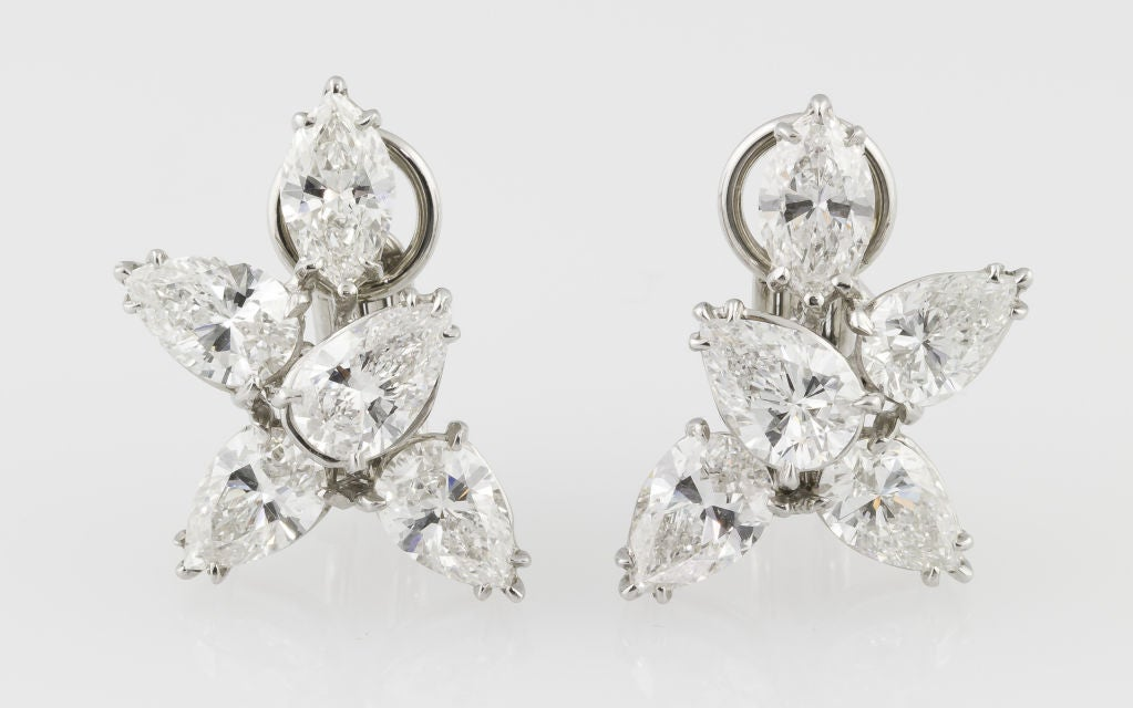 Harry Winston Platinum Diamond Cluster Earrings At 1stdibs